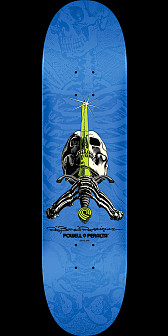 Powell Peralta Rodriguez Skull and Sword Skateboard Deck Blue - 8 x 31.45
