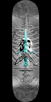 "Powell Peralta Ray Rodriguez Skull & Sword ""NOW"" Skateboard Deck Silver - 8.75 x 33.25"