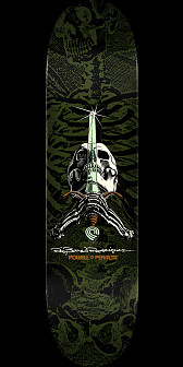 Powell Peralta Rodriguez Skull and Sword Skateboard Deck Green - 9 x 32.95