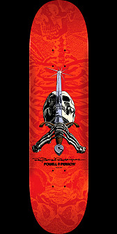Powell Peralta Rodriguez Skull and Sword Skateboard Deck Red - 8.25 x 31.95
