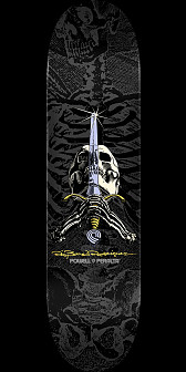 Powell Peralta Rodriguez Skull and Sword Skateboard Deck Grey/Black - 8.75 x 32.95