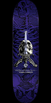 Powell Peralta Rodriguez Skull and Sword Skateboard Deck Purple - 8.5 x 32.08