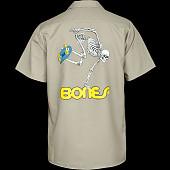 Powell Peralta Skateboarding Skeleton Work Shirt - Khaki