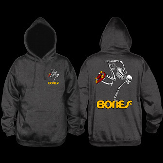 Powell Peralta Skateboarding Skeleton Hooded Sweatshirt Charcoal