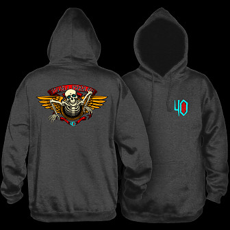 Powell Peralta 40th Anniversary Winged Ripper Hooded Sweatshirt Charcoal