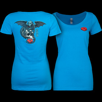 Powell Peralta Woman's T-Shirt Dragon Skull Turquoise