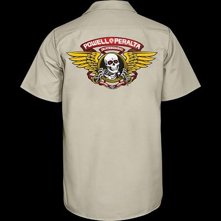 Powell Peralta Winged Ripper Work Shirt - Khaki