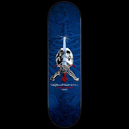 Powell Peralta Ray Rodriguez Skull & Sword Skateboard Deck Navy - 8.75 x 33.25